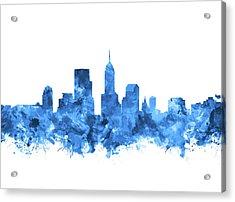 Indianapolis Skyline Watercolor Blue Acrylic Print