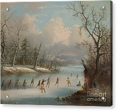 Indians Playing Lacrosse On The Ice, 1859 Acrylic Print by Edmund C Coates