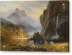 Indians Spear Fishing, 1862 Acrylic Print by Albert Bierstadt