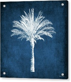 Indigo And White Palm Tree- Art By Linda Woods Acrylic Print