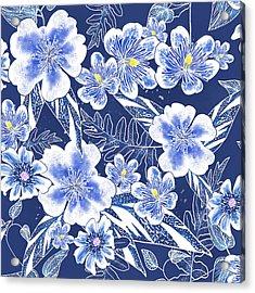 Indigo Batik Tile 1 - Camellia Acrylic Print