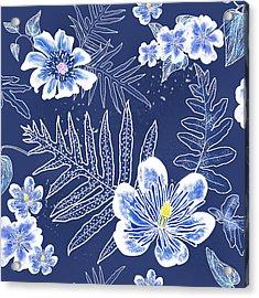 Indigo Batik Tile 3 - Laua'e Acrylic Print