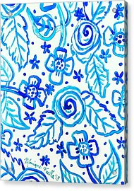 Indigo Blooms Acrylic Print