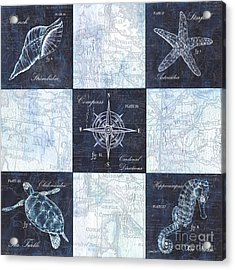 Indigo Nautical Collage Acrylic Print by Debbie DeWitt