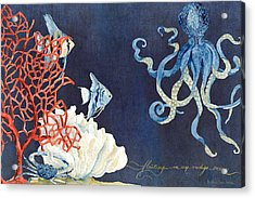 Indigo Ocean - Floating Octopus Acrylic Print by Audrey Jeanne Roberts