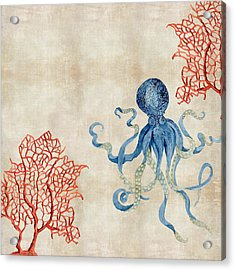 Indigo Ocean - Octopus Floating Amid Red Fan Coral Acrylic Print