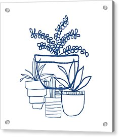 Acrylic Print featuring the mixed media Indigo Potted Succulents- Art By Linda Woods by Linda Woods