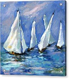 Indigo Seas Acrylic Print by Sharon Furner