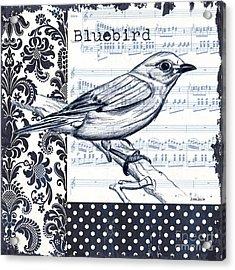 Indigo Vintage Songbird 1 Acrylic Print by Debbie DeWitt