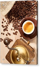 Indulgence Of Freshly Ground Coffee Beans Acrylic Print by Wolfgang Steiner