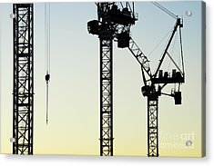 Industrial Cranes Abstract Acrylic Print by Tim Gainey