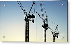 Industrial Cranes Silhouette Acrylic Print by Tim Gainey
