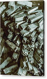 Industrial Letterpress Typeset  Acrylic Print by Jorgo Photography - Wall Art Gallery