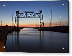Industrial River Scene At Dawn Acrylic Print
