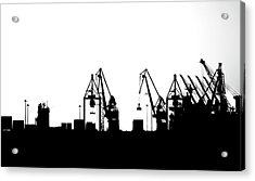 Acrylic Print featuring the photograph Industrial Silhouette In Bw by Nikos Stavrakas