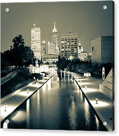 Indy City Skyline - Indianapolis Indiana Sepia 1x1 Acrylic Print by Gregory Ballos