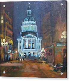 Indy Government Night Acrylic Print by Donna Shortt