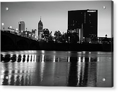 Indy Skyline Black And White Reflections - Indianapolis Indiana Acrylic Print
