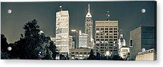 Indy Skyline Panoramic Sepia Acrylic Print
