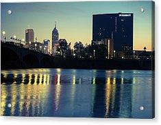 Indy Skyline Reflections - Indianapolis Indiana Acrylic Print
