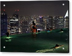 Infinity Pool At Marina Bay Sands Hotel Acrylic Print