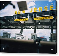Information Board View Through A Car Acrylic Print by Panoramic Images