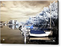Infrared Boats At Lbi Acrylic Print by John Rizzuto