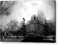 Acrylic Print featuring the photograph Infrared Gothic Raven On Gate Black And White Infrared Print - Solitude - Gothic Raven Infrared Art  by Kathy Fornal
