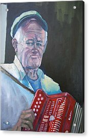 Inis Mor Accordian Player Acrylic Print by Kevin McKrell