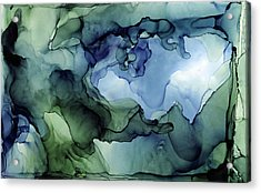 Ink Abstract Painting Blues Greens Acrylic Print