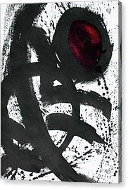 Ink On Paper Rose #2 Vertical Ink Landscape Original Fine Art Ink On Paper Acrylic Print