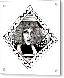 Ink Portrait Acrylic Print by Mahinaz Soliman