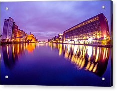 Inland Harbour Duisburg At Dawn Acrylic Print by Manuel Wieler