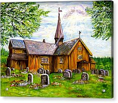 Innset Kirke -- Norway Acrylic Print by Carol Allen Anfinsen
