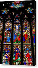Inri Stained Glass Acrylic Print by Adrian Evans