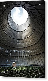 Acrylic Print featuring the photograph Inside Industrial Cooling Tower Stands A Mysterous Little House by Dirk Ercken