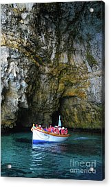Inside The Cave Of The Blue Grotto Acrylic Print by Stephan Grixti