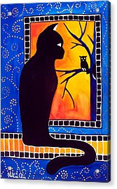 Insomnia - Cat And Owl Art By Dora Hathazi Mendes Acrylic Print