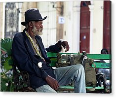 Interesting Cuban Gentleman In A Park On Obrapia Acrylic Print by Charles Harden