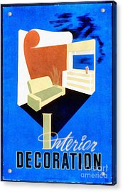 Interior Decoration Vintage Wpa Poster Acrylic Print by Edward Fielding