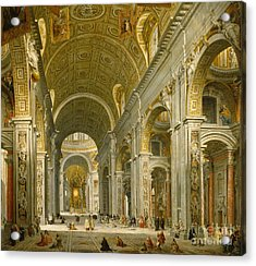 Interior Of St. Peter's - Rome Acrylic Print by Giovanni Paolo Panini