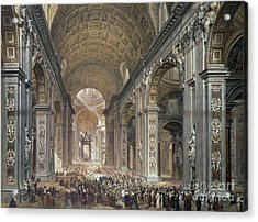 Interior Of St Peter's, Rome, 1867 Acrylic Print by Louis Haghe