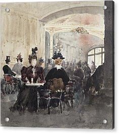 Interior Of The Concert Rouge Acrylic Print by Henri Laurent Mouren