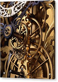 Internal Gears Within A Clock Acrylic Print by David Parker
