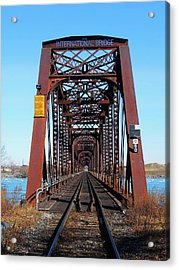 International Bridge - Railway Bridge To United States Acrylic Print