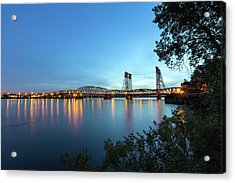Interstate Bridge Over Columbia River At Dusk Acrylic Print by David Gn