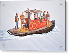 Acrylic Print featuring the painting Into The Mist-the Crew Boat by Gary Giacomelli