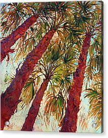 Acrylic Print featuring the painting Into The Palms - Diptych Left by Erin Hanson