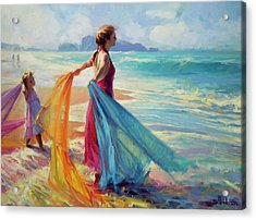 Acrylic Print featuring the painting Into The Surf by Steve Henderson