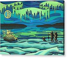 Inuit Love Arctic Landscape Painting Acrylic Print by Kim Hunter